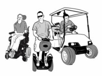 Drawing of a woman in a power wheelchair, a man on a Segway and a man sitting in a golf car